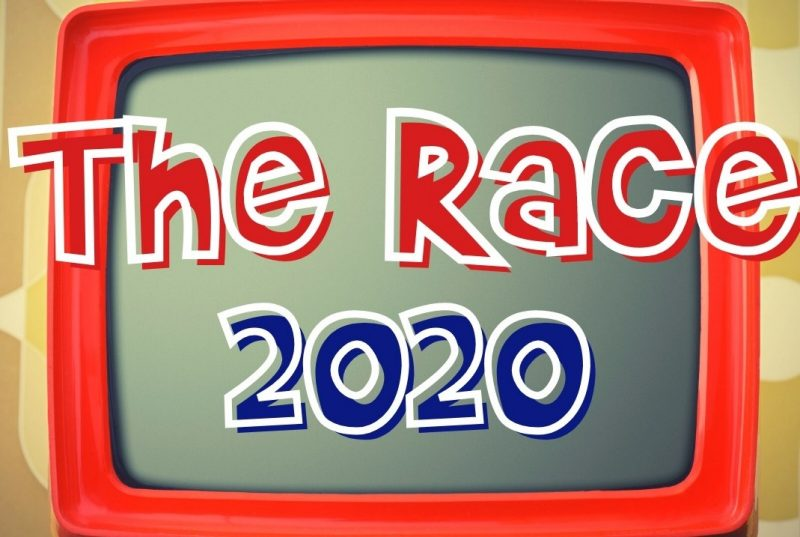 image of a red television set with the words The Race 2020  in red, white, and blue letters, across the top