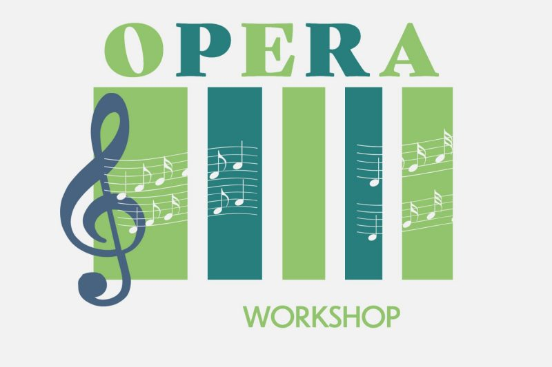 Green image of treble clef, music notes, and Opera Workshop text